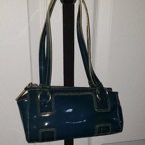 Kenneth Cole Blue/Green patent leather barrel bag